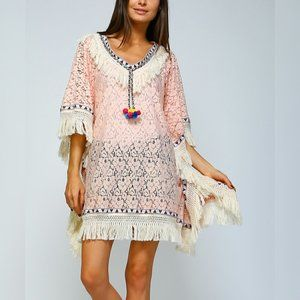 New Lace and Fringe Boho Poncho Cover Up OS Pink